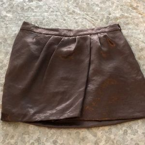 Bronze shiny mini skirt